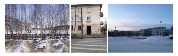 three small photos: left shows trees in front of a snowy schoolyard, center (vertical) shows a crosswalk (with no curbcut)in front of an aging apartment building, right (horizontal) shows a snowy cityscape at sunrise