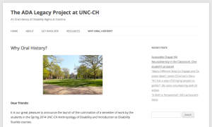 A screenshot of the ADA Legacy Project website, an oral history archive created with undergraduate students during a course project