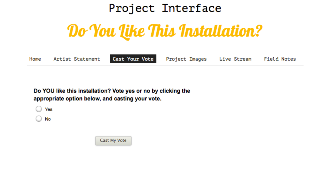"""Screen shot of website with black and yellow text. Header reads """"Project Interface: Do You Like This Installation."""" Menu item """"Cast Your Vote"""" is selected. Page text reads, """"Do YOU like this installation? Vote yes or no by clicking the appropriate option below, and casting your vote."""" Followed by Yes and No checkbox bubles and a button that reads """"Cast My Vote""""."""