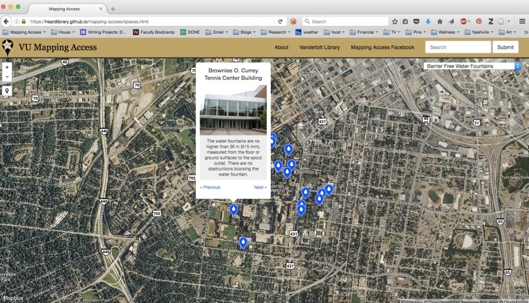 A screenshot of a map viewed through a web browser. Blue dots indicate the locations of accessible water fountains and a pop-up from one dot shows an image of a building, describing the accessibility features of the water fountains inside.