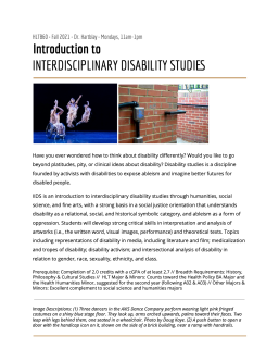 Course Flyer for Introduction to Interdisciplinary Disability Studies